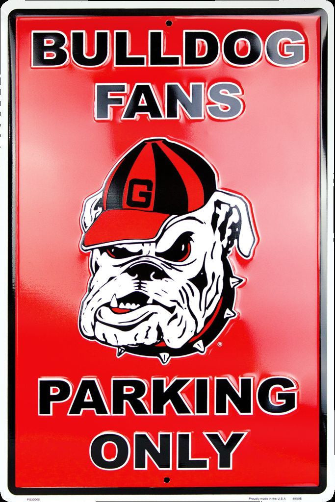 GEORGIA BULLDOG FANS PARKING ONLY LARGE METAL SIGN