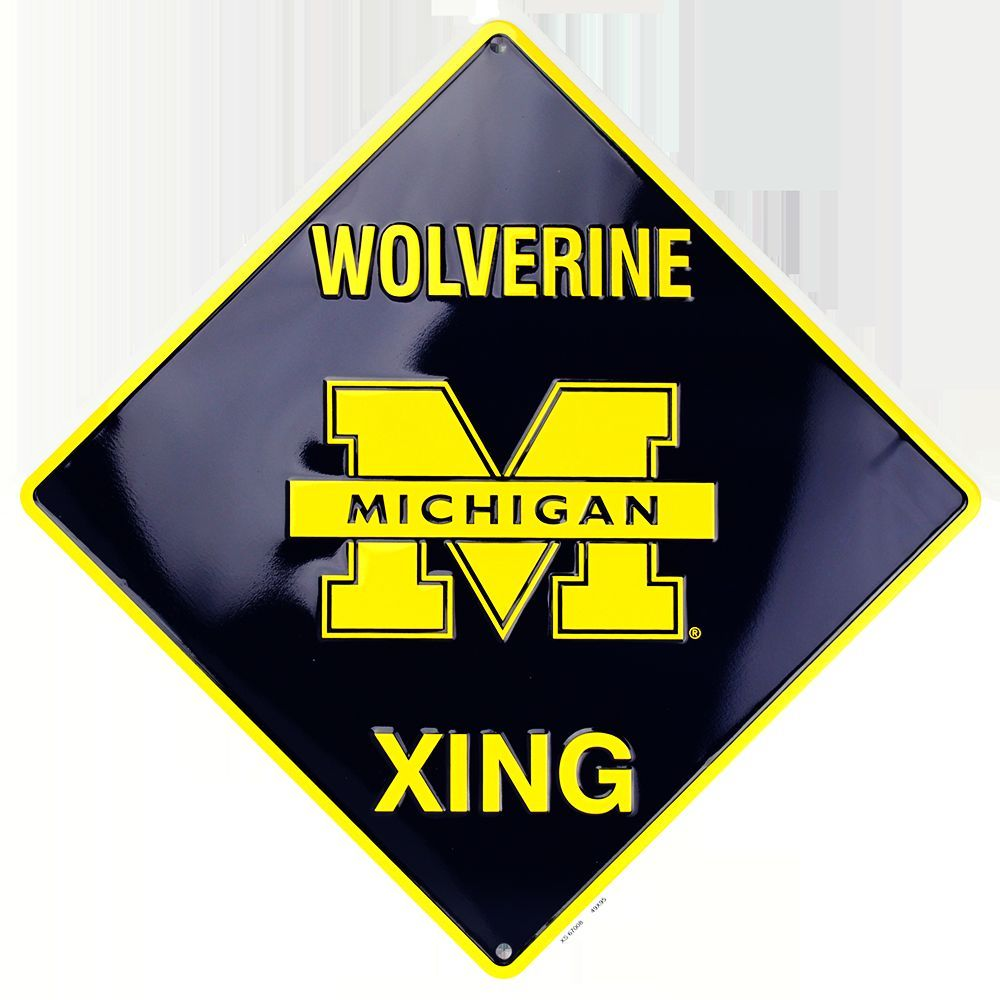 MICHIGAN WOLVERINES METAL WOLVERINE XING CROSSING SIGN