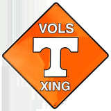 TENNESSEE VOLUNTEERS EMBOSSED METAL VOLS XING CROSSING SIGN