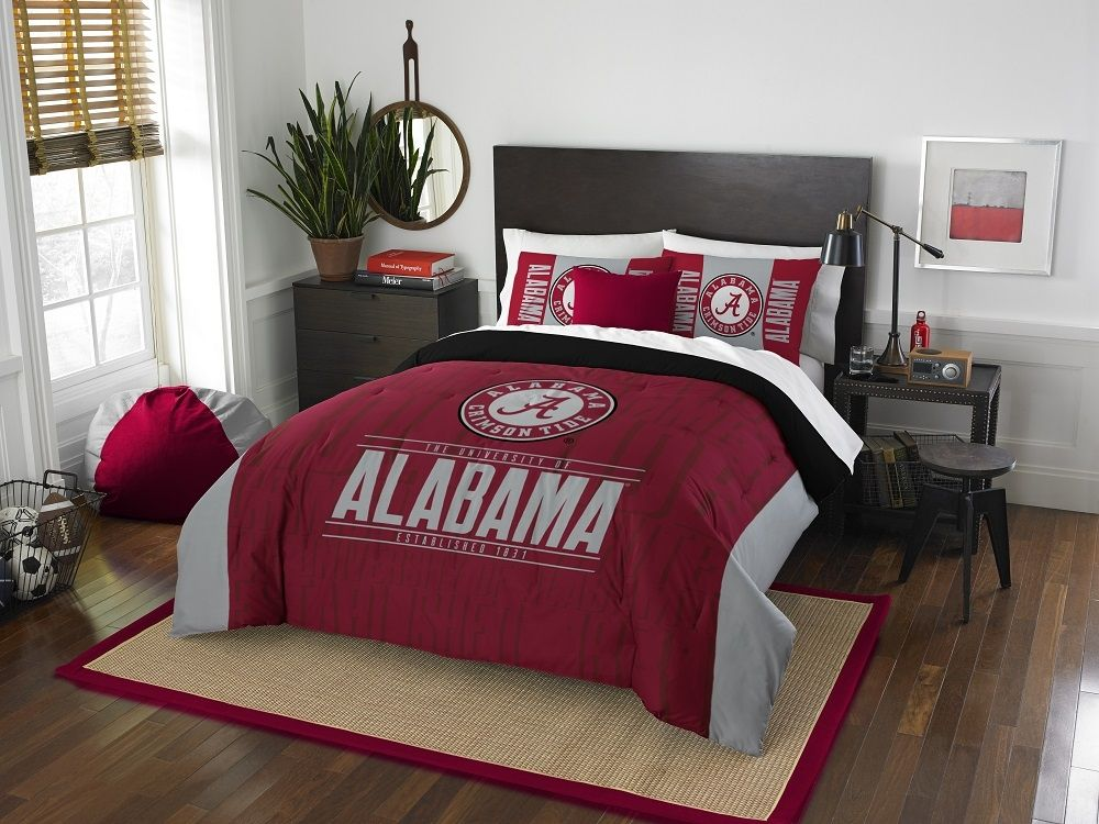 ALABAMA CRIMSON TIDE FULL/QUEEN COMFORTER AND SHAM 3PC SET NORTHWEST NCAA MODERN TAKE