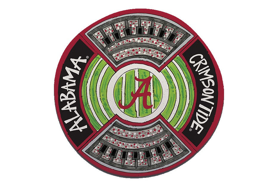 "ALABAMA CRIMSON TIDE 13.5"" ROUND STADIUM PLATTER NCAA TAILGATE GAME DAY SNACK FOOD"