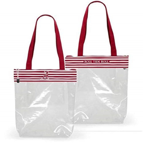ALABAMA CRIMSON TIDE CLEAR ZIPPER STADIUM TOTE APPROVED PURSE BAG NCAA INSIDE POCKET