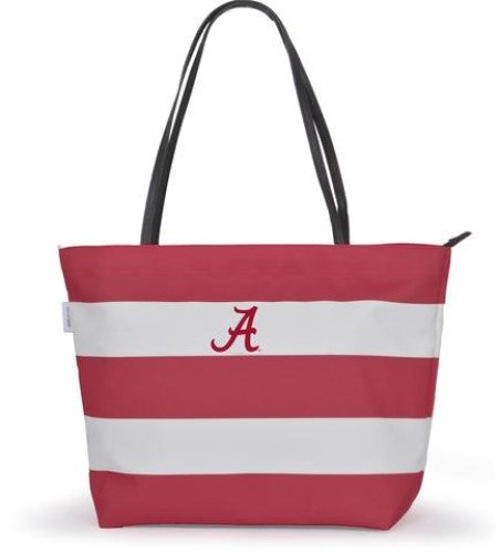 ALABAMA CRIMSON TIDE GAME DAY RUGBY STRIPED SHOPPER TOTE PURSE ZIPPER BAG TAILGATE