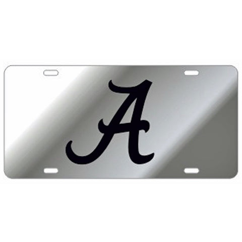 ALABAMA CRIMSON TIDE MIRRORED CAR TAG LICENSE PLATE SILVER RED BAMA UNIVERSITY