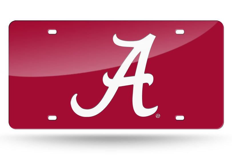 ALABAMA CRIMSON TIDE MIRROR RED CAR TAG LICENSE PLATE WHITE A UNIVERSITY