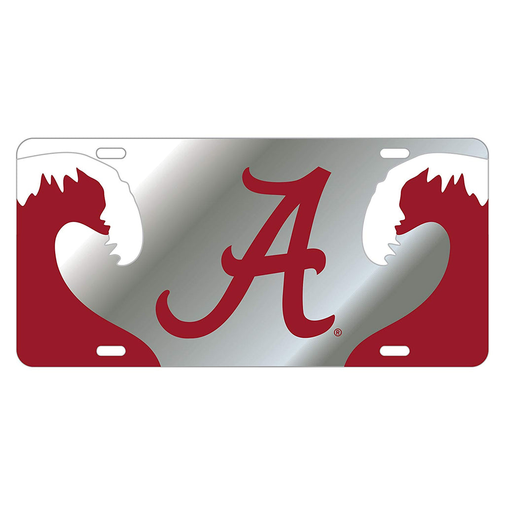 ALABAMA CRIMSON TIDE MIRROR CAR TAG LICENSE PLATE SILVER RED A WAVE UNIVERSITY AUTO