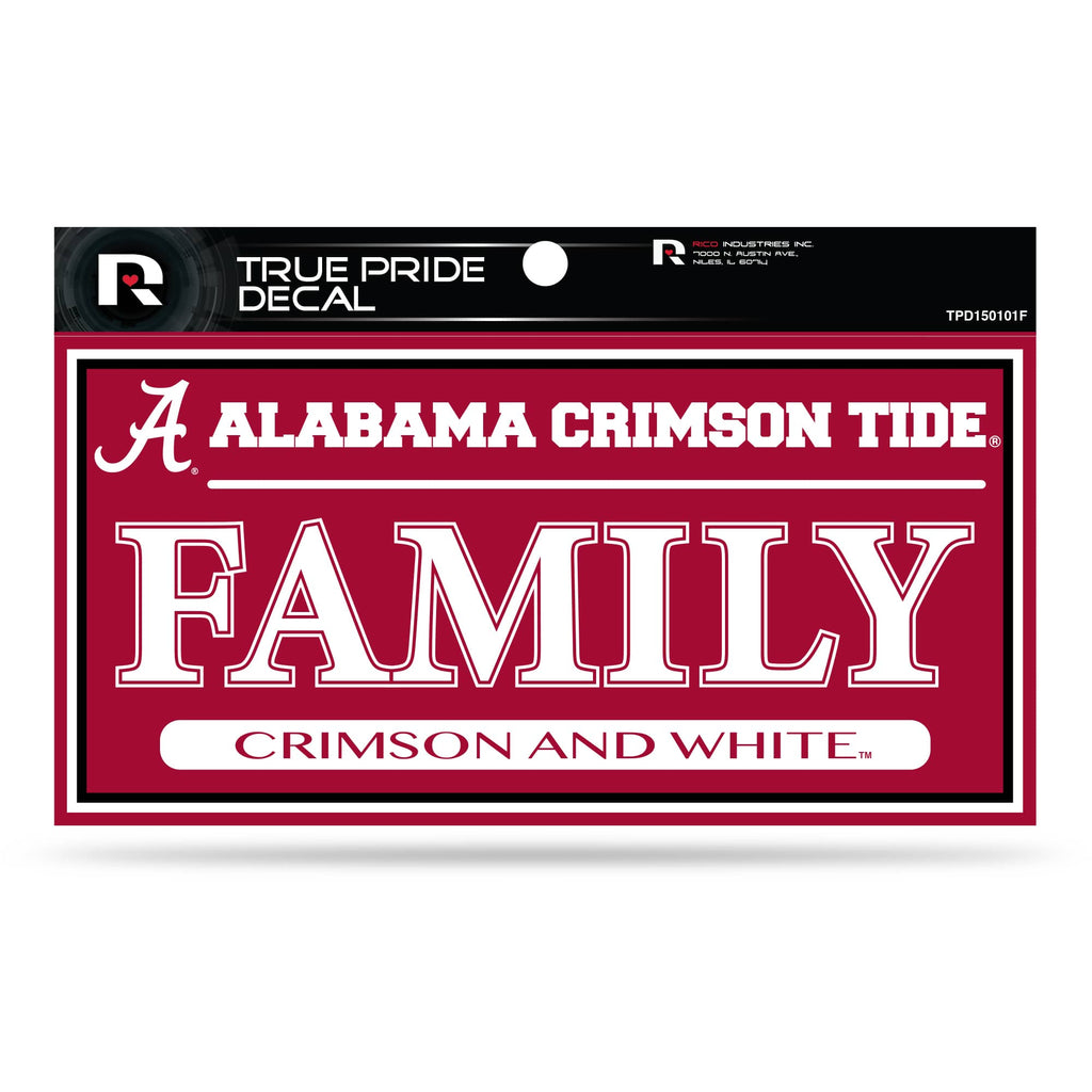 "ALABAMA CRIMSON TIDE TRUE PRIDE DECAL FAMILY CRIMSON AND WHITE AUTO 3"" X 6"""