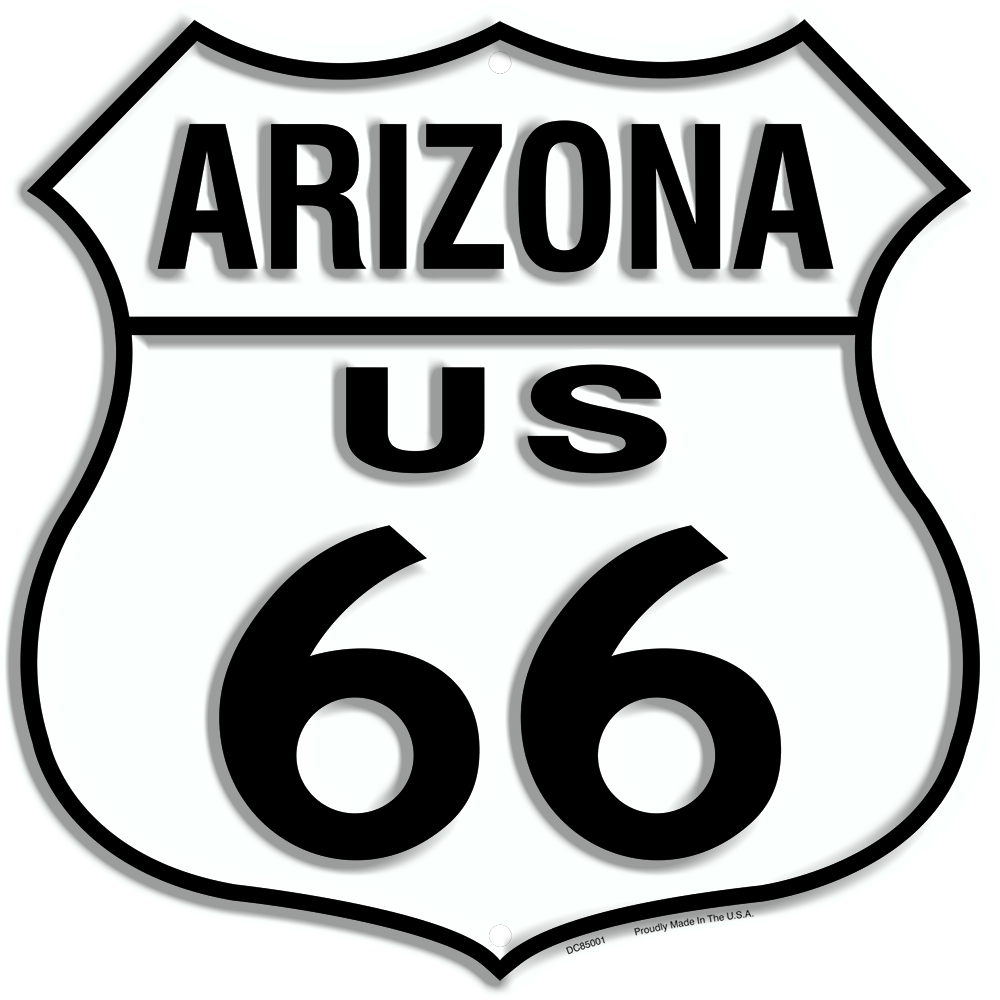 "US ROUTE 66 ARIZONA 12 X 12"" SHIELD METAL TIN EMBOSSED HISTORIC HIGHWAY SIGN"