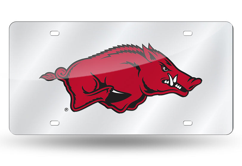Arkansas Razorbacks Silver Mirror Car Tag Plate