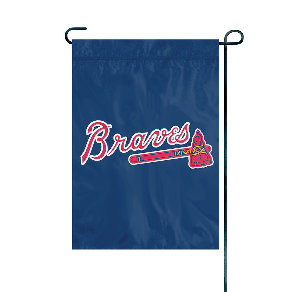 ATLANTA BRAVES GARDEN MINI FLAG APPLIQUE EMBROIDERED PREMIUM HEAVY WEIGHT FULL SIZE NYLON