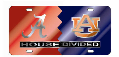 ALABAMA CRIMSON TIDE AUBURN TIGERS HOUSE DIVIDED MIRROR LICENSE PLATE CAR TAG UNIVERSITY