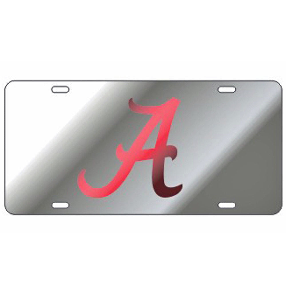 ALABAMA CRIMSON TIDE MIRROR CAR TAG LICENSE PLATE SILVER RED A CRAFTIQUE