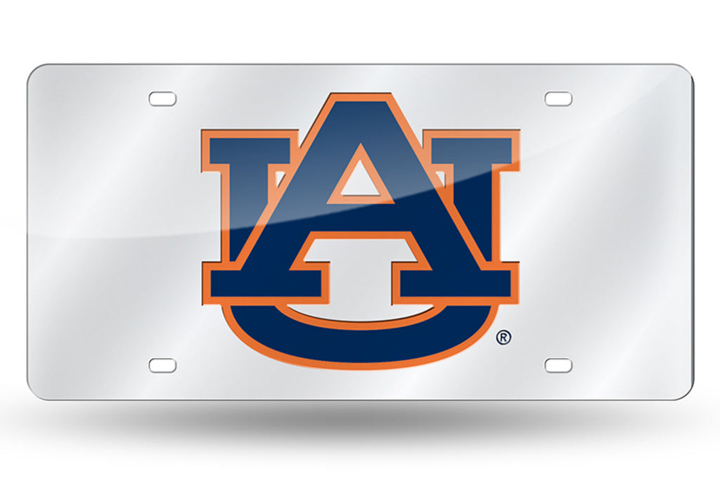 AUBURN TIGERS SILVER MIRROR CAR TAG LASER LICENSE PLATE AUTO UNIVERSITY CAR