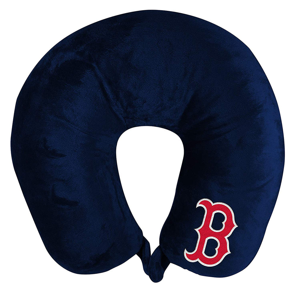 BOSTON RED SOX APPLIQUE TRAVEL NECK PILLOW TEAM LOGO COLOR SNAP CLOSURE POLYESTER MLB