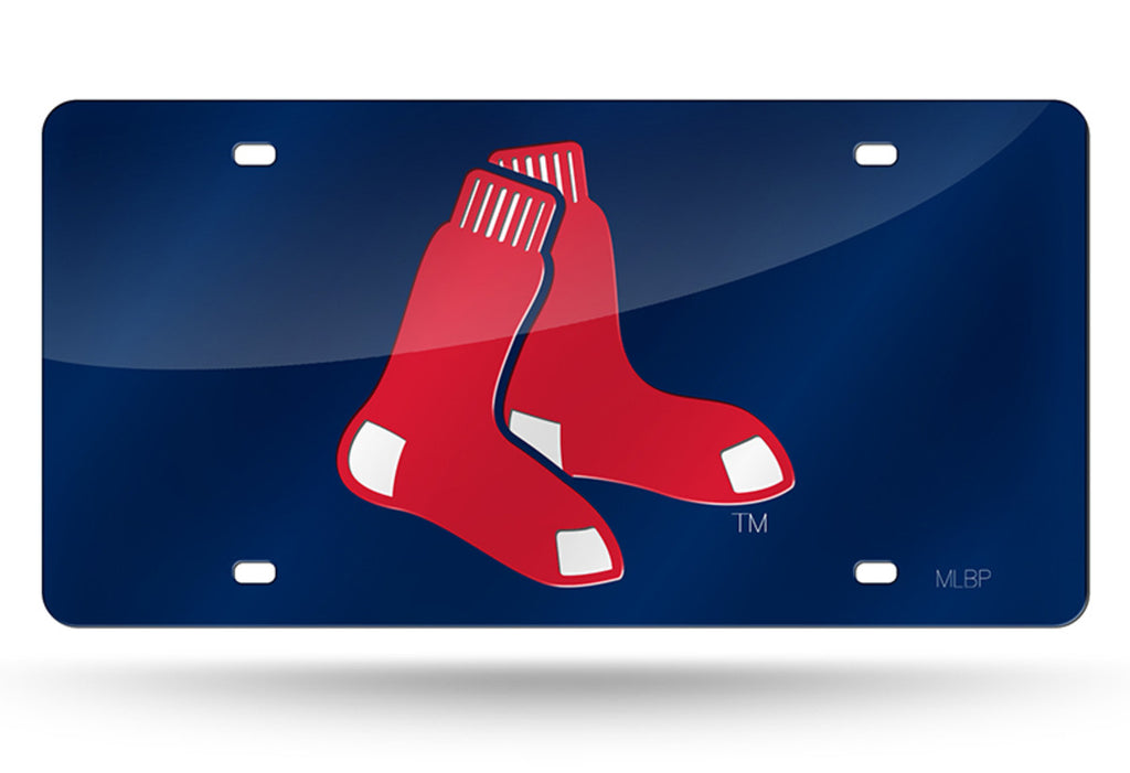 BOSTON RED SOX LASER CUT BLUE MIRROR LICENSE PLATE RED SOX SIGN