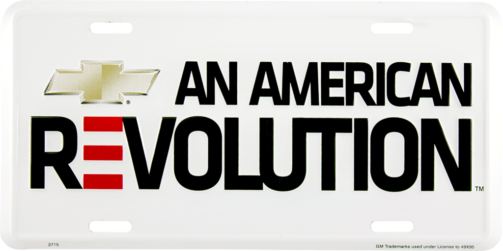 CHEVROLET AN AMERICAN REVOLUTION LICENSE PLATE CHEVY SIGN EMBOSSED