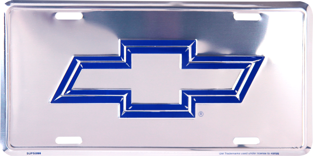 CHEVROLET BOWTIE BLUE LOGO CHROME LICENSE PLATE METAL SIGN EMBOSSED CHEVY CAR