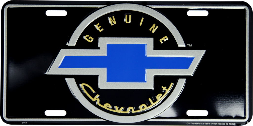 CHEVROLET GENUINE BOWTIE LICENSE PLATE METAL BLACK BLUE SILVER SIGN EMBOSSED