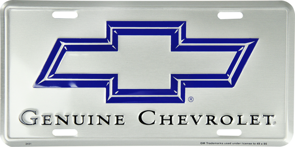 CHEVROLET GENUINE BOWTIE LOGO LICENSE PLATE METAL PAINTED SILVER SIGN EMBOSSED
