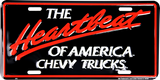 CHEVROLET THE HEARTBEAT OF AMERICA CHEVY TRUCKS LICENSE PLATE METAL EMBOSSED