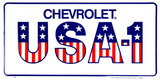 CHEVROLET USA-1 LICENSE PLATE METAL AMERICAN FLAG SIGN EMBOSSED CAR TRUCK AUTO