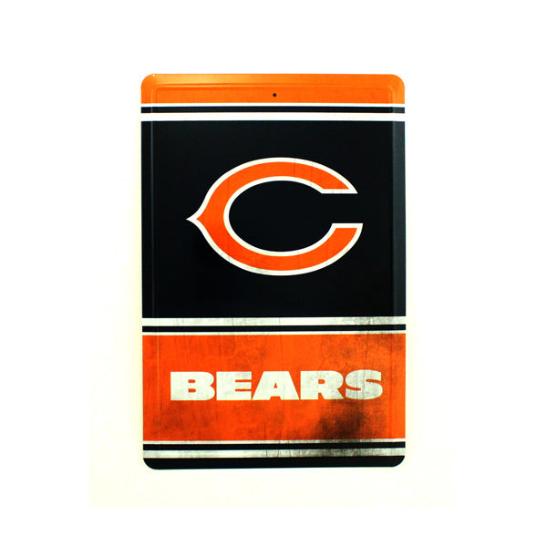 "CHICAGO BEARS TEAM TIN SIGN VINTAGE WOOD LOOK METAL 8""  X 12"" MAN CAVE FAN"