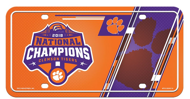 CLEMSON TIGERS 2018 NATIONAL CHAMPS METAL CAR TRUCK TAG LICENSE PLATE UNIVERSITY