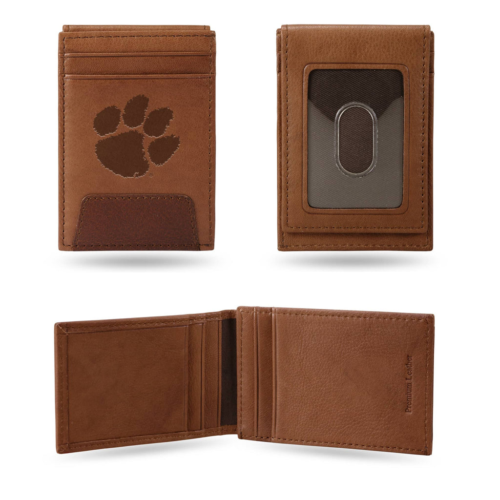 Clemson Tigers Laser Engraved Brown Front Pocket Wallet University Money Holder