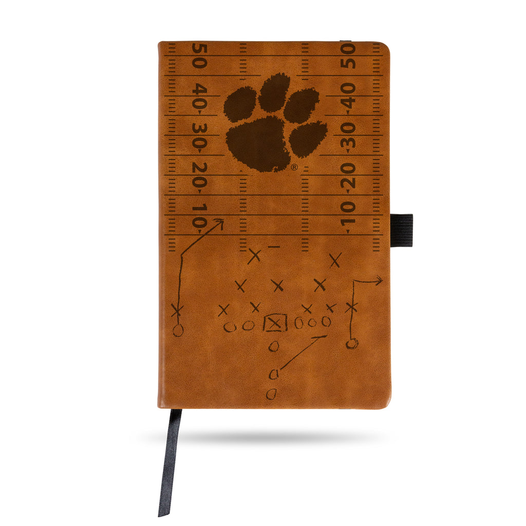 CLEMSON TIGERS LASER ENGRAVED BROWN NOTEPAD WITH ELASTIC BAND JOURNAL LOGO