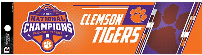 "CLEMSON TIGERS 2018 NATIONAL CHAMPIONS BUMPER STICKER 11"" X 3"" DECAL UNIVERSITY"