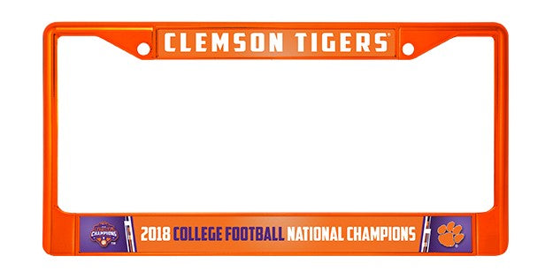 CLEMSON TIGERS 2018 NATIONAL CHAMPIONS METAL ORANGE LICENSE PLATE FRAME CHROME