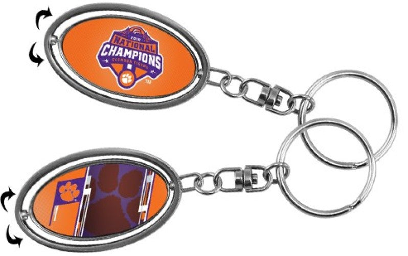 CLEMSON TIGERS 2018 NATIONAL CHAMPIONS KEY RING SPINNER KEYCHAIN SOUVENIR NCAA