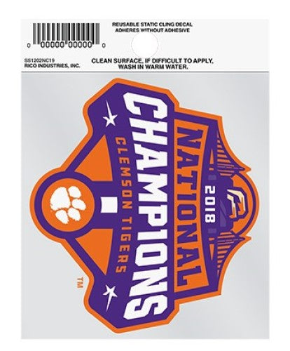 CLEMSON TIGERS NATIONAL CHAMPIONS 2018 STATIC CLING DECAL FOOTBALL NCAA AUTO