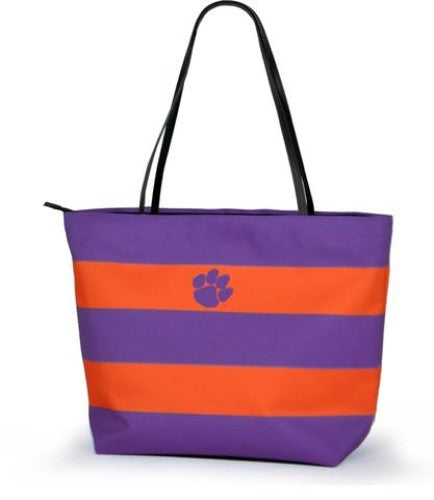 CLEMSON TIGERS GAME DAY RUGBY STRIPED SHOPPER TOTE PURSE ZIPPER BAG TAILGATE