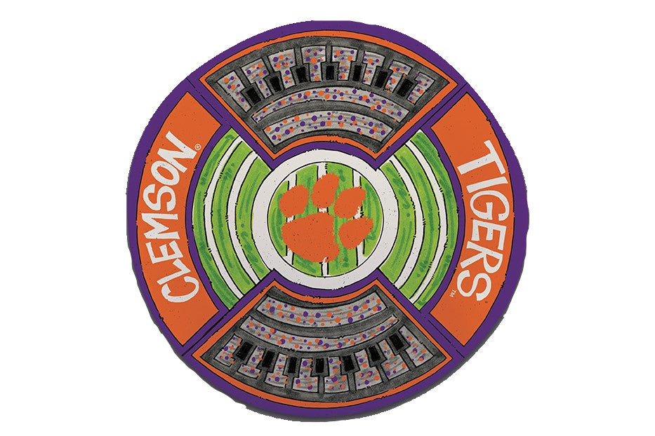 "CLEMSON TIGERS 13.5"" ROUND STADIUM PLATTER NCAA TAILGATE GAMEDAY"