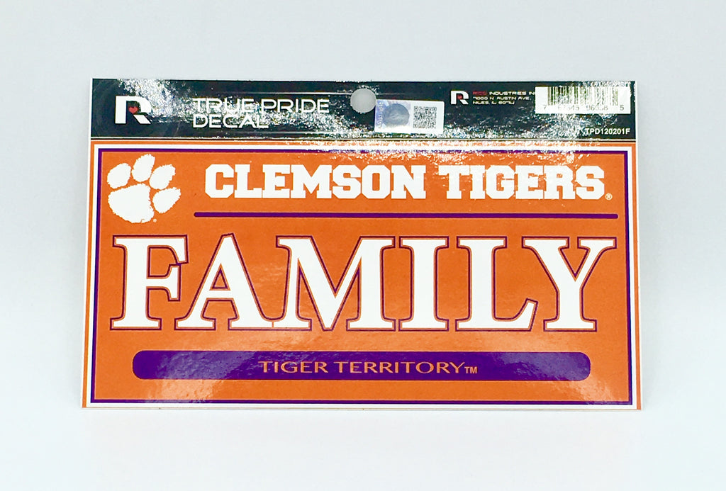 "CLEMSON TIGERS TRUE PRIDE DECAL FAMILY TIGER TERRITORY AUTO 3"" X 6"""