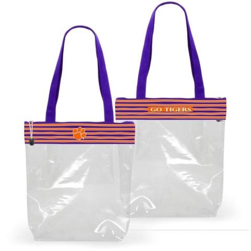 CLEMSON TIGERS CLEAR ZIPPER STADIUM TOTE APPROVED PURSE BAG NCAA INSIDE POCKET