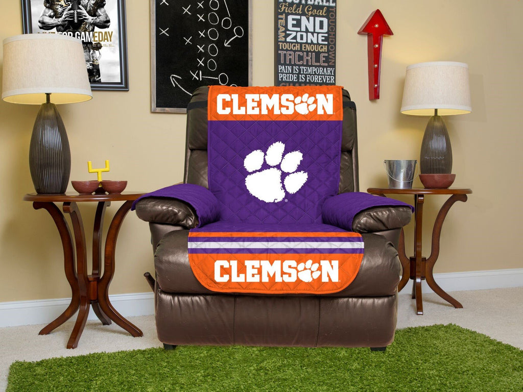 CLEMSON TIGERS FURNITURE PROTECTOR COVER RECLINER REVERSIBLE ELASTIC STRAPS NCAA