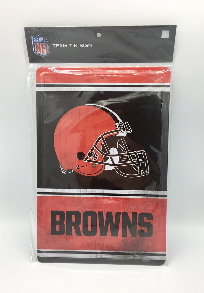 "CLEVELAND BROWNS TEAM TIN SIGN VINTAGE WOOD LOOK METAL 8""  X 12"" MAN CAVE FAN"