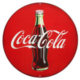 COCA-COLA BOTTLE ROUND EMBOSSED TIN 12