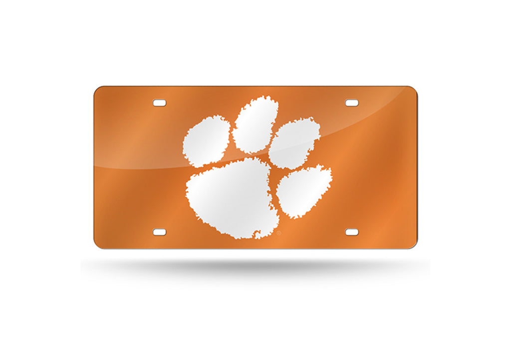 CLEMSON TIGERS MIRRORED ORANGE CAR TAG LICENSE PLATE WHITE PAW LOGO SIGN
