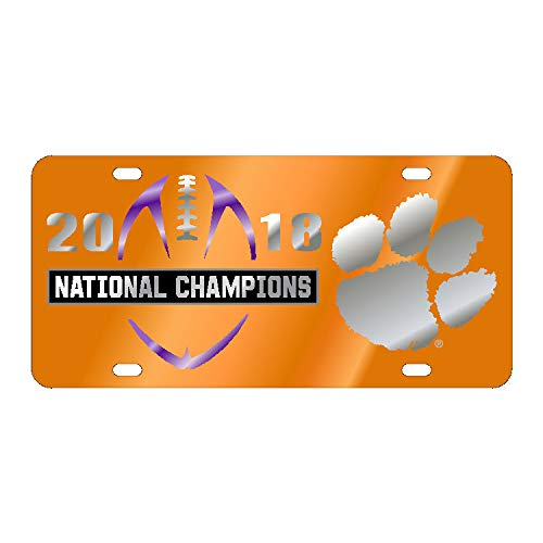 CLEMSON TIGERS 2018 NATIONAL CHAMPIONS ORANGE MIRROR CAR TAG LASER LICENSE PLATE