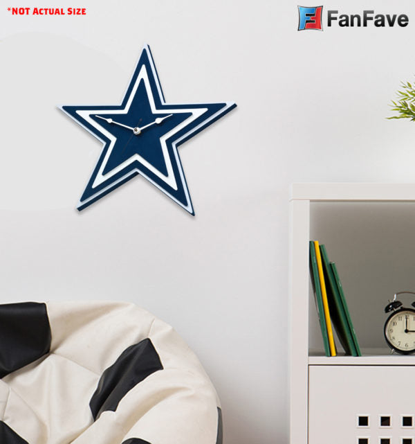 DALLAS COWBOYS 3D FOAM WALL CLOCK  DEN OFFICE MANCAVE SPORTS ROOM LOGO