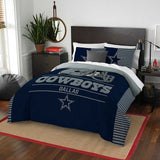 DALLAS COWBOYS FULL/QUEEN COMFORTER AND SHAM 3PC SET DRAFT NORTHWEST NFL