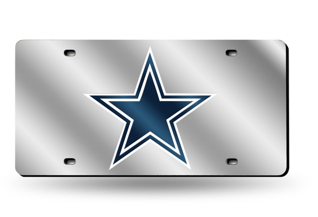 DALLAS COWBOYS SILVER MIRROR CAR TAG LASER LICENSE PLATE