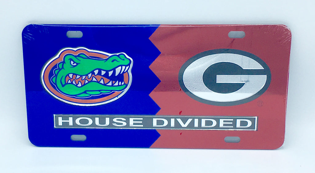FLORIDA GATORS GEORGIA BULLDOGS HOUSE DIVIDED MIRROR LICENSE PLATE CAR TAG UNIVERSITY