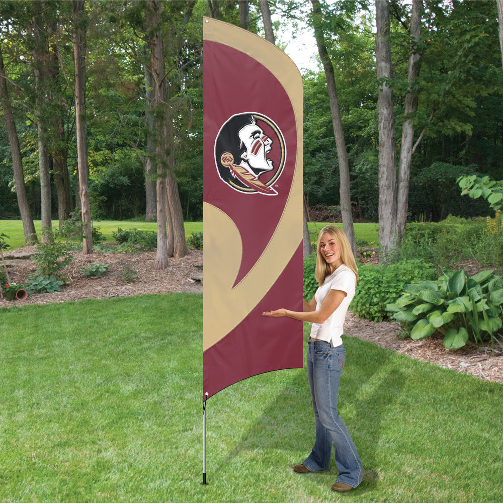 FLORIDA STATE SEMINOLES 8.5 FOOT TALL TEAM FLAG 11.5 FOOT POLE SIGN BANNER