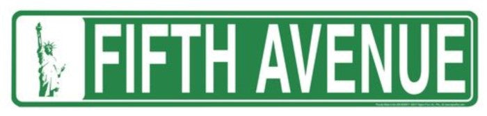 "FIFTH AVENUE STREET SIGN 24"" X 5"" EMBOSSED METAL"