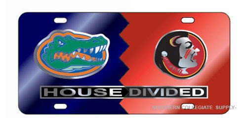 FLORIDA GATORS FLORIDA STATE SEMINOLES HOUSE DIVIDED MIRROR LICENSE PLATE CAR TAG