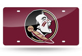 FLORIDA STATE SEMINOLES MIRRORED RED CAR TAG LICENSE PLATE LOGO SIGN